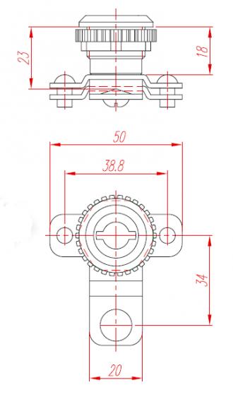 Замок для металлических и пластиковых щитов Butterfly трехсторонний