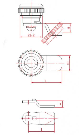 Замок для металлических шкафов однооборотный с металлическим ротором